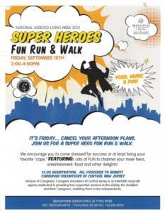 Super Heroes Fun Run and Walk Flyer