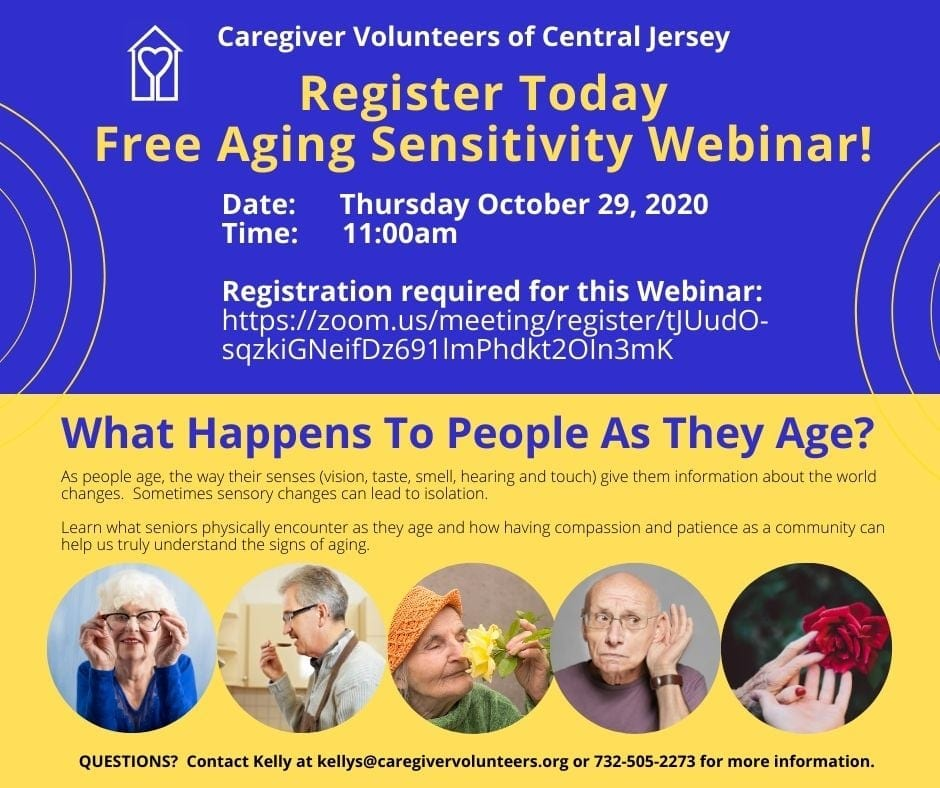 Free Aging Sensitivity Webinar 10/29/2020 Caregiver Volunteers of Central Jersey