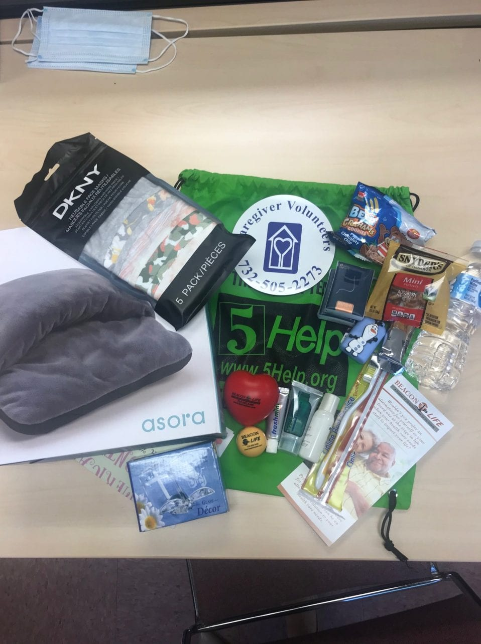 Goodie bags distributed by CVCJ and partners